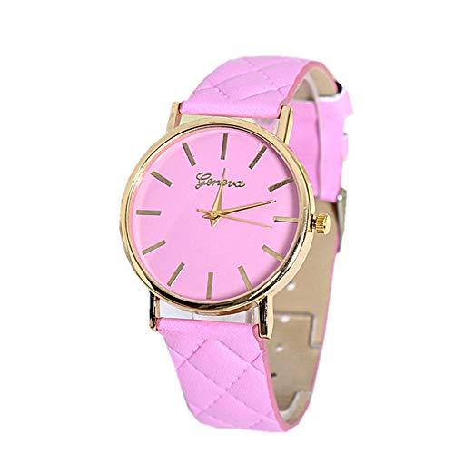 Relojes de Pulsera Reloj De Pareja De Moda Simple Y Colorido, Correa De Verificación Diagonal De Cinturón Casual, Reloj De Movimiento De Cuarzo Rosa