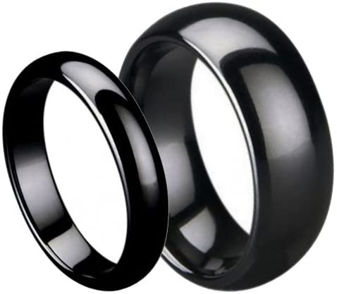 His Her's 7MM 5MM Max 43% OFF Black Ceramic High Polish Domed Quality inspection Wedding Band