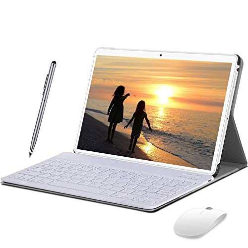 Tablet 10 Zoll 4G LTE Android 9.0 Dual SIM, 2 in1 Tablet mit Tastatur 4 GB RAM und 64 GB ROM, Quad Core Prozessor, 1080p Full HD IPS Display, WiFi, Bluetooth, GPS, OTG, Typ C - Gold