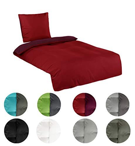 BaSaTex Microfaser Uni und Uni-Wende Bettwäsche in Allen Größen viele Farben, 2 TLG. 135x200 cm + 80x80 cm Sienna rot
