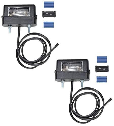 FKAnhängerteile 2 x Aspöck Regpoint Kennzeichenleuchte small - mit Birne + 0,8m Kabel + DC Verbinder