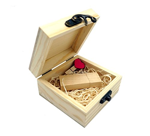 LONMAX Gift Wooden USB 2.0 Flash Drive Memroy Stick Disk with Box 16GB (16GB, Maple Wooden)