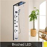 Djkaa Gran pantalla LED de temperatura Dorado/ORB/Níquel cepillado Panel de ducha de masaje Spray lateral ABS Ducha de mano Sistema de ducha LED