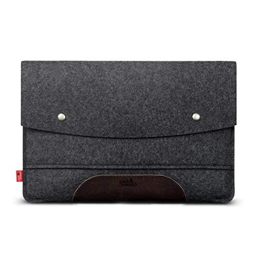 Pack und Smooch Für Surface Pro 7/6 Hülle 100prozent Wollfilz Und Pflanzlich Gegerbtes Leder Handmade in Germany - Anthrazit/Dunkelbraun