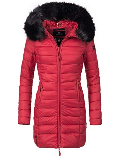 Marikoo Damen Winter-Mantel Steppmantel Rose Red Gr. S