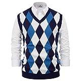 Mens Argyle V-Neck Sweater Vest Diamond Sleeveless Knit Vests Knitwear Blue XL