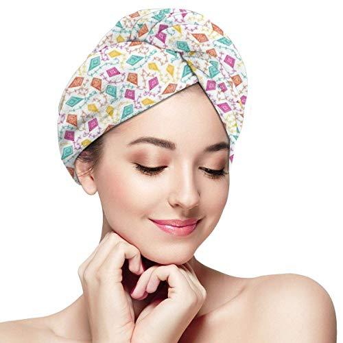 N/A Serviette à cheveux en microfibre Turban à séchage rapide, bonnet de bain style bohème tribal géométrique avec cerfs-volants traditionnels effets folkloriques