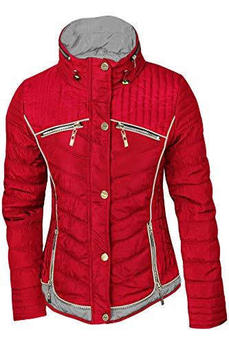 Damen STEPP Jacke ÜBERGANGJACKE LEICHT Trenchcoat Gold Kapuze Herbst KURZ, Farbe:Rot/Grau, Größe:S
