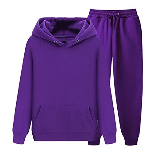 Conjunto de pantalones con capucha unisex ropa deportiva chándal otoño invierno en polar chándales, Morado (, XL
