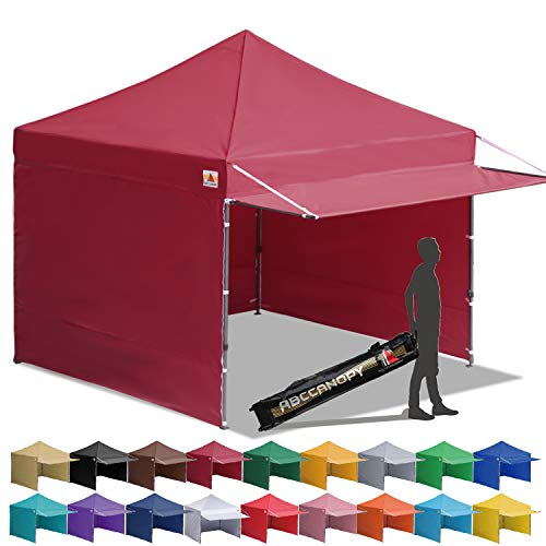 ABCCANOPY Canopy Tent 10 x 10 Pop-up Instant Shelters Commercial Portable Market Canopies with Matching Sidewalls, Weight Bags, Roller Bag,Bonus Canopy Awning