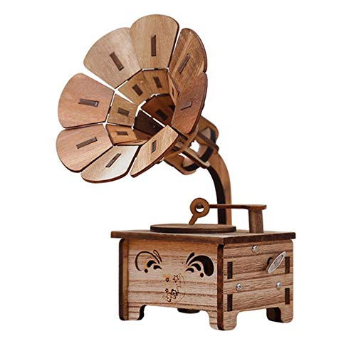 AOJIAOGUI Kid Birthday Gift Gramophone Vintage Home Decoration Accessories New Year Gift Wooden Music Box Christmas Figurines Music Boxes,Brown