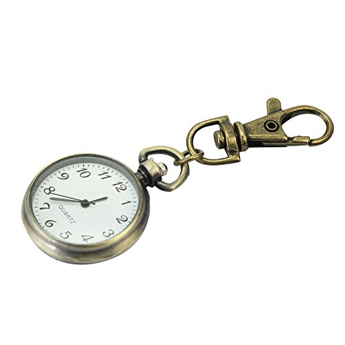 Pinzhi Bronze Legierung Unisex Schlüsselanhänger Uhr Tasche Quarz Weiß Runde Zifferblatt Arabische Ziffern