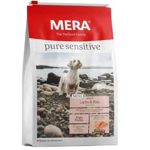 MERA pure sensitive Mini Adult Lachs und Reis Hundefutter – Trockenfutter für die tägliche Ernährung kleiner nahrungssensibler Hunde – 1 x 4 kg