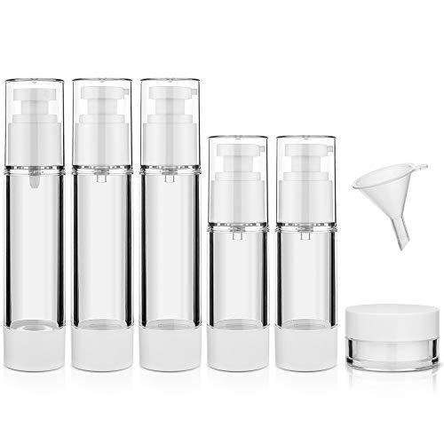 Komake ReiseFlaschen Set, [7 Stück] Airless Pumpflasche,Verschiedene Größen Airless Pumpspender mit Lotionspender Sprühflaschen und Cremedose für Kosmetik,Reise,Camping(50ml/30ml)