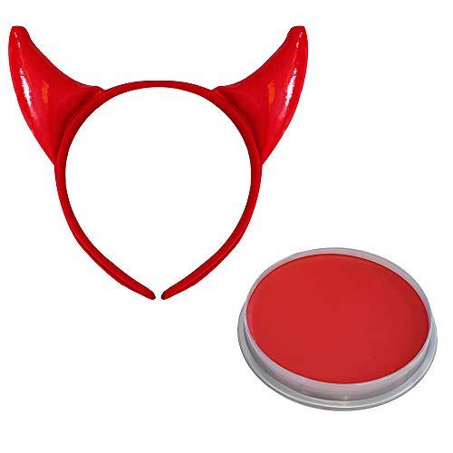 0223PNRQFVA ILOVEFANCYDRESS Perruque de Diablesse Rouge et Noir à Frange avec Deux Cornes attachées pour Femme. Ideal pour Les fêtes d'halloween.