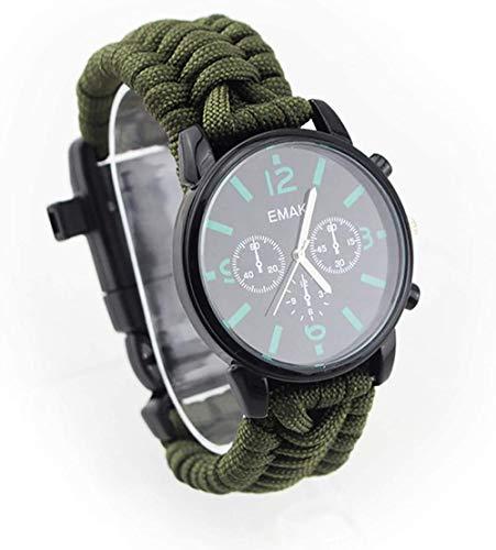 Outdoor Adventure Reloj multifunción con cuerda de siete núcleos, termómetro, silbato, brújula, impermeable y resistente a los golpes, color verde militar
