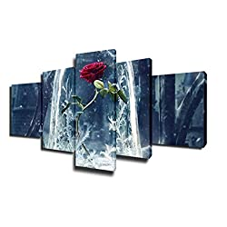 Beauty and Beast Rose Posters and Prints on Canvas Flower Pictures Frozen Red Rose Paintings 5 Piece Canvas Modern Artwork Home Decor for Living Room Framed Gallery-wrapped Ready to Hang(50''Wx24''H)