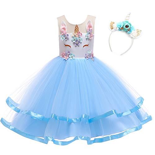 Vestido para nias Uincorn Navidad malla Tulle Tut Flores Vestidos para fiesta boda princesa disfraz (2 - 3T, azul #2)