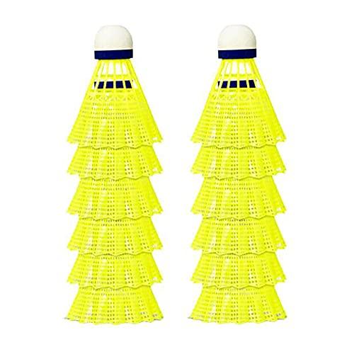 Casdl Pro-Nylon Federball 12 Stück Badminton Federbälle gelb Badmintonbälle für Training & Wettkampf Badminton