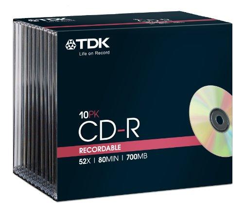 TDK T18765 CD-R Rohling 700MB / 80 Minuten inklusive Slim Case (10 Stück) 52x Speed