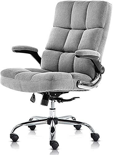 Ergonomic Executive Chair, Velvet Lumbar Support Office Chair Adjustable Tilt Angle and Flip-up Arms Executive Computer Desk Chair Thick Padding for Comfort and Ergonomic Design (Grey)
