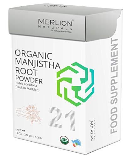 Organic Manjistha Root Powder by Merlion Naturals | Rubia cordifolia/Indian Maddar | 227gm/ 8OZ/ 1/2lb | USDA NOP Certified 100% Organic