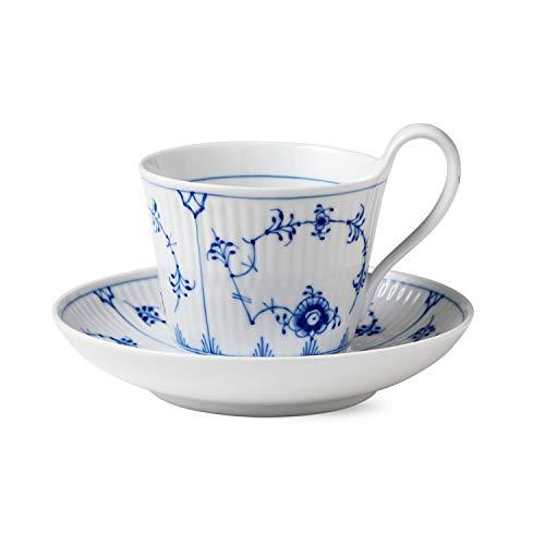 Royal Copenhagen Blue Fluted Plain Tassen Set, Porzellan, blau, 0,24l, 2