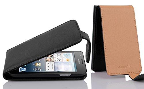 Cadorabo Hülle für Huawei Ascend G525 / G520 in Oxid SCHWARZ - Handyhülle im Flip Design aus Strukturiertem Kunstleder - Hülle Cover Schutzhülle Etui Tasche Book Klapp Style