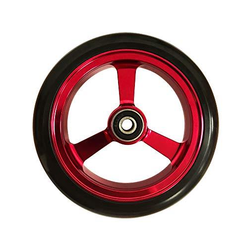 RIANTWHEEL, 5.0 X 1.0 inch, Solid, PU Wheels, Wheelchair Casters, Aluminum Rim, one Pair (Red)