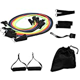 11PCs Resistance Band Set Fitness Workout Bands with Door Anchor, Leg Ankle Straps, Handles for Resistance Training, Home Workout, Yoga