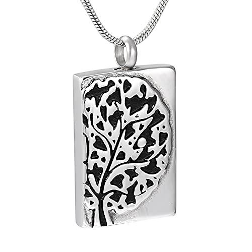 Liart Collar de urna de cremación de árbol de la Vida para Cenizas, Etiqueta de Perro, urna Conmemorativa de Acero Inoxidable, joyería, Colgante de Recuerdo grabable para Cenizas