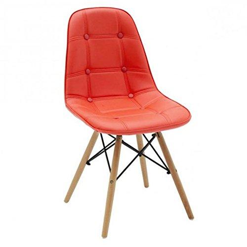 Bois & Design Chaise Design Moderne en Cuir synthétique avec Boutons et Pieds en hêtre Couleur Orange