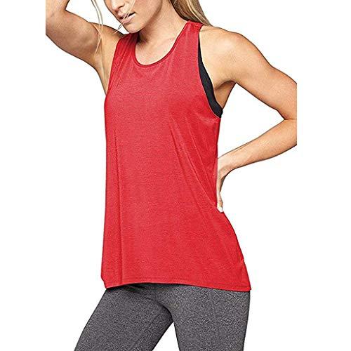 PPangUDing Westen T-Shirts Damen Sommer Schnell trocknend Volltonfarbe Ärmellos Bequemer Sport Yoga Workout Kleidung Trainingsanzug Sportbekleidung Freizeit für Laufen Fitness Jogging