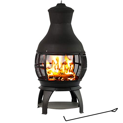 BALI OUTDOORS Wood Burning Chimenea, Outdoor Round Wooden Fire Pit Fireplace, Black
