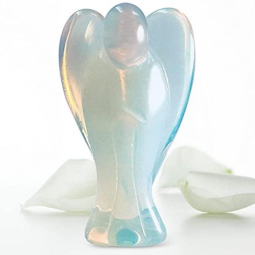 BONITO ÁNGEL DE BOLSILLO DE OPALITA 4.5 cm energía de cristal curativo figurita estatua decorativa del ángel de la guarda de 4,5 cm, amuleto de la suerte, chakras, ayuda a la meditación, reiki