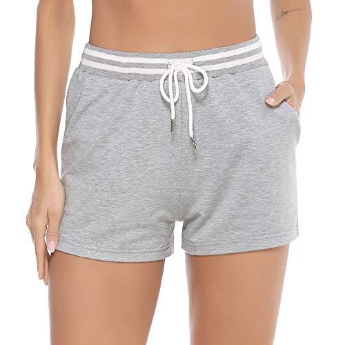 Aibrou Pantalones Cortos Deporte para Mujer,Pantalón Casual Elástica para Verano,Pantalones Chandal cordón para Yoga Gimnasio Fitness,Pantalones de Pijama Algodón Short Pants, (Gris, M)
