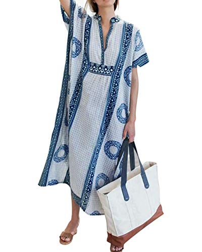 Beach Swimsuit for Women Deep V-Neck Short Sleeve Side Split Beach Swimwear Dresses Bikini Cover-ups Loose Caftans Loungewear