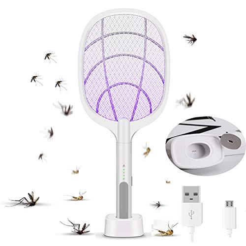 AEU Matamoscas Eléctrico Raqueta Eléctrica Mata Mosquitos Y Lámpara Antimosquitos 2 in 1, Exterminadora De Insectos con Mango, Carga USB, Luz Ultravioleta LED, Protección De Malla De 3 Capas