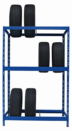 Reifenregal | 130 cm breit ✓ blau pulverbeschichtet | 196,6 x 130 x 50 cm | Werkstattregal Reifenständer Garagenregal Schwerlastregal