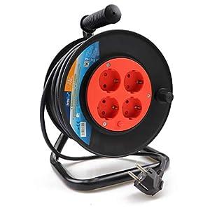 ExtraStar Cable de alimentación de bobina enrollable de 15 metros y 4 enchufes (2P+T) …