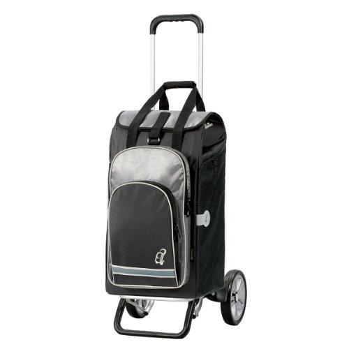Andersen Chariot de courses Alu Star avec sacoche Hydro noire, volume 60L, poche isotherme et cadre aluminium