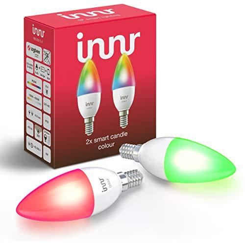 Innr E14 Color Lampadina LED, funziona con Philips Hue*, Alexa & Google (Hub Richiesto) Dimmerabile, RGBW, 2-Pack, RB 250 C-2