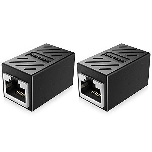 2Pcs RJ45 Coupler, in-Line Coupler, câble Ethernet Extender Adaptateur Femelle vers Femelle, Noir
