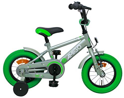 AMIGO Sports - Kinderfahrrad - 12 Zoll - Jungen - mit Rücktritt und Stützräder - ab 3 Jahre - Olivgrün