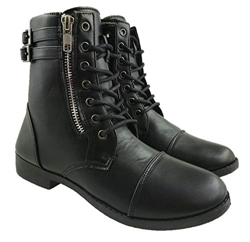Ladies Military Faux Leather Combat Ankle Boots Lace Up Zip Detail Black UK...