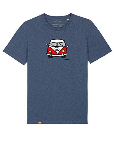 Cencibel Smart Casual Camiseta Callate La Boca Azul Denim Furgoneta Surfera Roja (L)