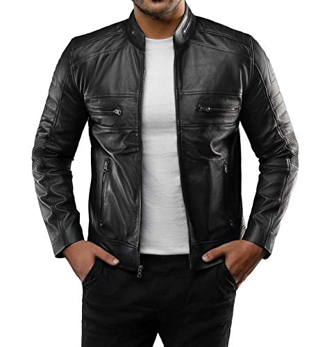 Blingsoul Mens Leather Jacket - Distressed Brown Motorcycle...
