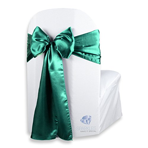 Sparkles Make It Special 50 pcs Satin Chair Cover Bow Sash - Emerald Green - Wedding Party Banquet Reception - 28 Colors Available