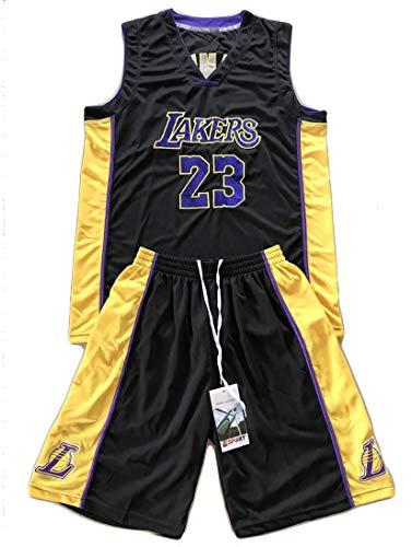 PGODYQ Pantalones Cortos De Baloncesto para Hombre Jersey Kobe 24 Santiago 23 Bryant 8 para Los Fanáticos De Lakers Jersey, Número De Bola Y Logo Chaleco Deportivo Vestime 23 Black-L
