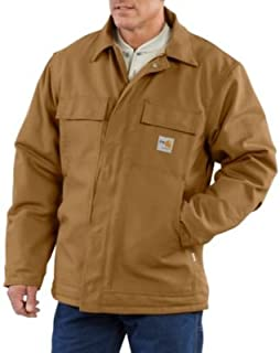 Men's Flame Resistant Quilt-Lined Duck Traditional Coat Big And Tall Carhart Brn Large Tall